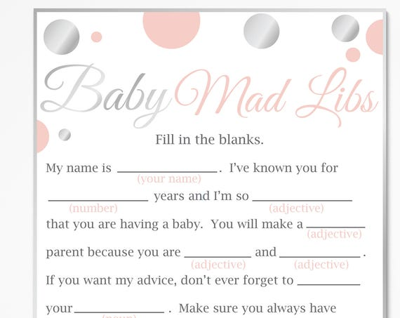 Mad Libs ~ Pink and Silver Baby Shower ~ Baby Girl Polka Dot ~ Printable Game 21SilverP
