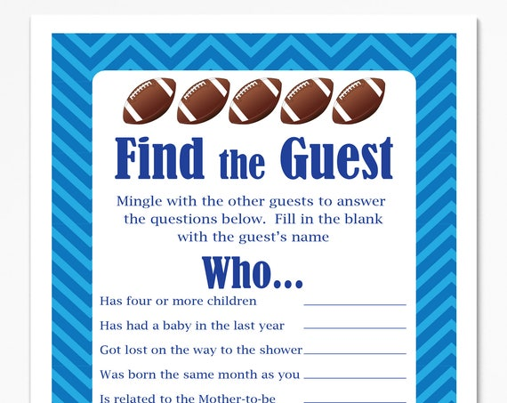 Football Theme Find the Guest Game, Blue Baby Shower Game, Stripe Baby Boy Printable Template, Baby Shower Game  56Football