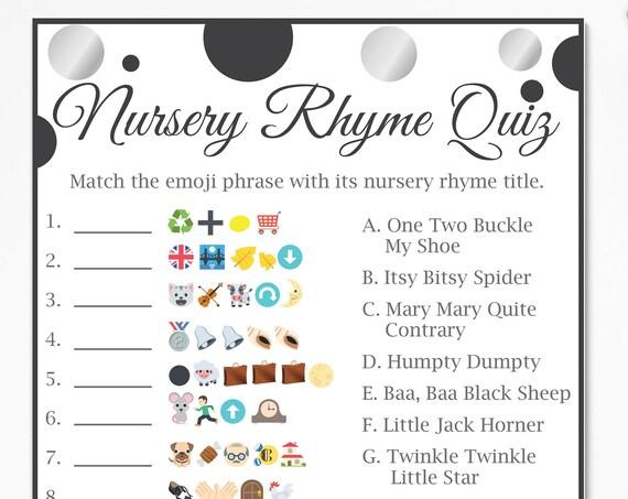 Emoji Nursery Rhyme Quiz ~ Silver and Black Baby Shower Game ~ Gender Neutral Polka Dot ~ Printable Game 21SilverBlk