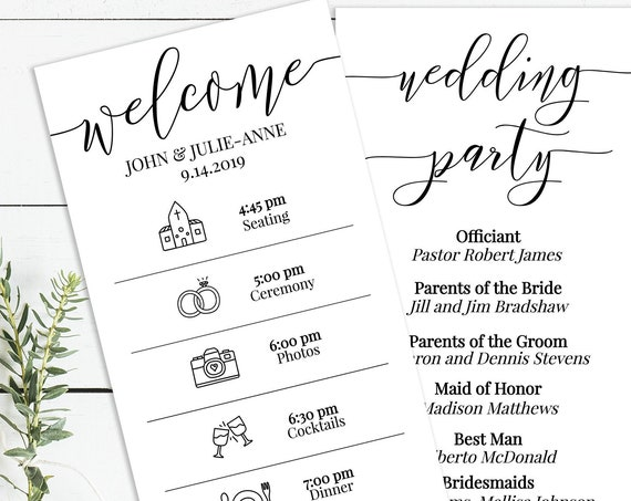 Wedding Timeline Program, Printable Wedding Day Schedule, Ceremony Itinerary, Order of Service 100% Editable PPW0550 GRACE