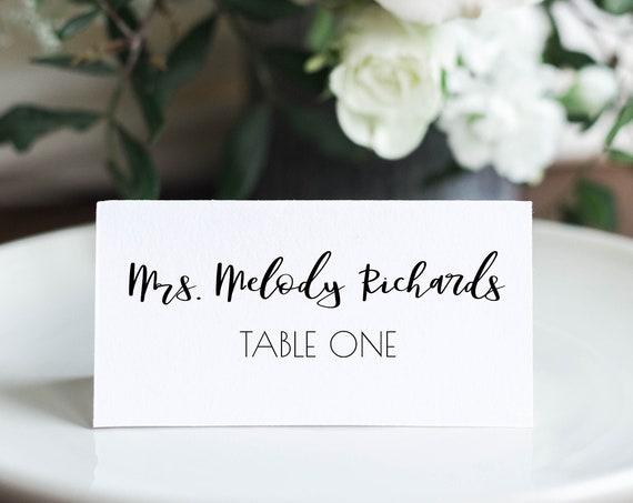 Wedding Table Place Card Template, Minimalist Elegant Design 100% Editable, Templett PPW0575