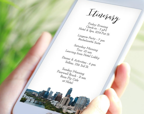 Austin Texas Painting Electronic Itinerary Template, Evite, Hen Party, Bridal Shower, Details, Schedule, Wedding Events PPW82 AUSTIN