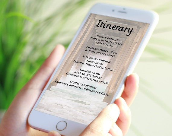 Itinerary Electronic Template, Evite, Hen Party, Bridal Shower  Editable Text PPW68 PIER