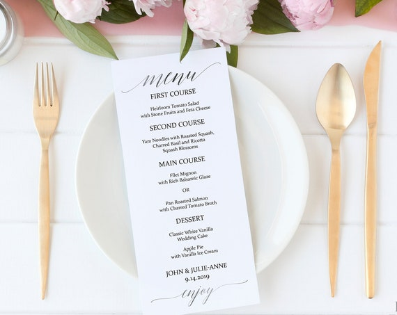 Modern Elegant Silver Wedding Menu Template, Editable Printable, Instant Download PDF 120S