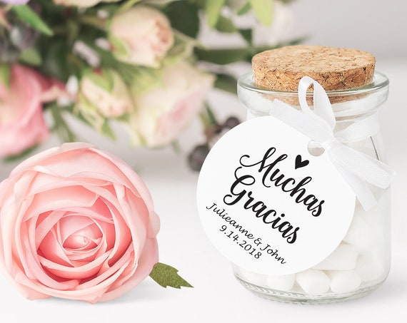 Muchas Gracias Heart Tag, Round Wedding Favor Tag, Favor Thank You Tags, Spanish Editable Printable,  Instant Download, 115