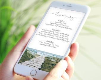 Coastal Theme Itinerary, Electronic Invitation, Evite, Digital, Text Message, Editable Schedule, Beach Boardwalk, Template PPW18 HAMPTON