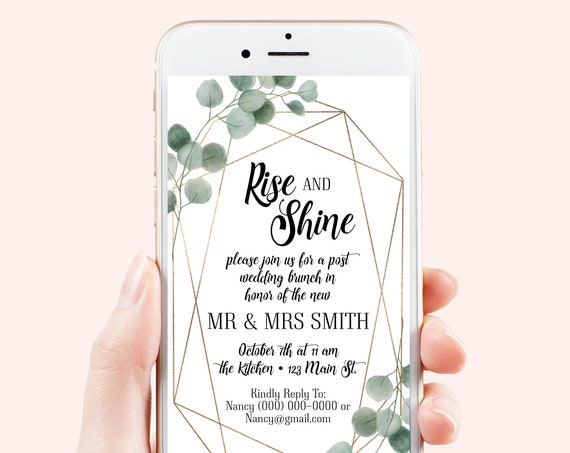 Brunch Rise and Shine Electronic Invitation, Evite, Digital, Text Message, Editable Phone Invite, Wedding Gold and Greenery SAGE-N2