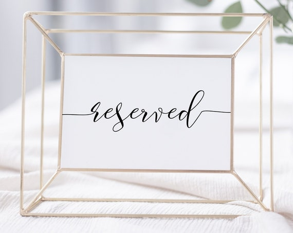 Reserved Sign, Ceremony Reserved for Family, Reception Wedding Printable, Instant Download 100% Editable, Templett PPW0550 Grace