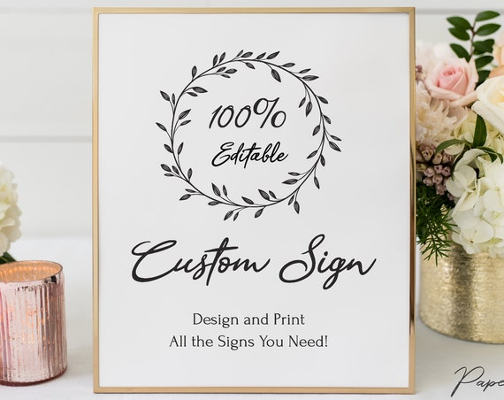 Rustic Wedding Sign Template, Bridal Printable, 100% Editable Text, Wedding Instant Download, Templett, DIY PPW0330