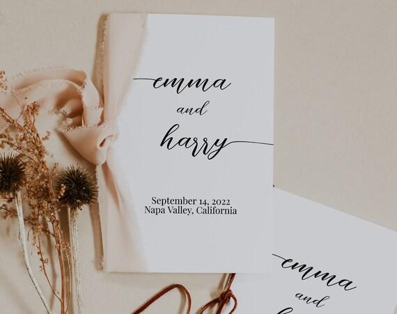 Wedding Folding Program, Wedding Order of Events, Modern Elegant Font Wedding Program, Wedding Handout EditableTemplate PPW16 MAE