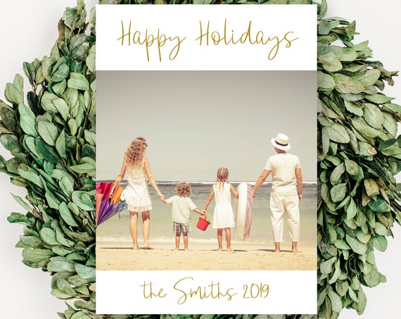 Christmas PhotoCard, 5x7 Happy Holidays Card DIY, Instant Download 100% Editable, Templett PPC-19