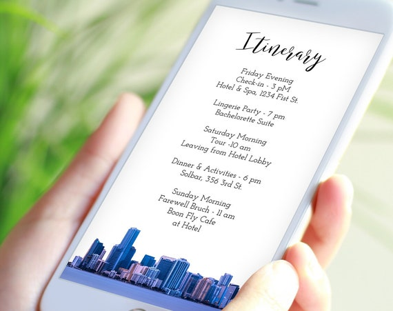 Miami Watercolor Electronic Itinerary Template, Evite, Hen Party, Bridal Shower, Details, Schedule, Wedding Events PPW84 MIAMI