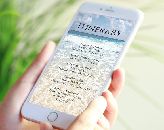 Beach Itinerary Template, Wedding, Bachelorette, Weekend Event, Electronic Agenda, Travel Schedule, Editable Template PPW102 ARUBA