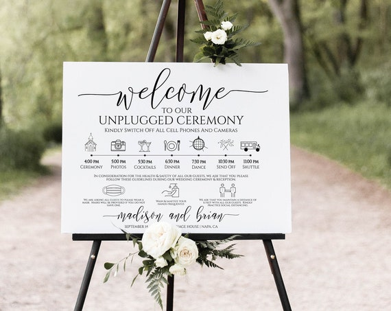 Unplugged Ceremony and Timeline Sign, Safety Sign, Printable Timeline, Wedding Day Schedule, No Phones or Cameras PPW0550 Grace