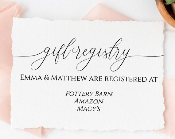 Gift Registry Card, Wedding, Bridal or Baby Shower Invitation Details, Simplistic Elegant Font Template 100% Editable, Templett  PPW0560