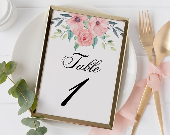 Floral Wedding Table Numbers, Bridal Shower, Printable Custom Table Number, 100% Editable Text, Instant Download, Templett, DIY PPW0220