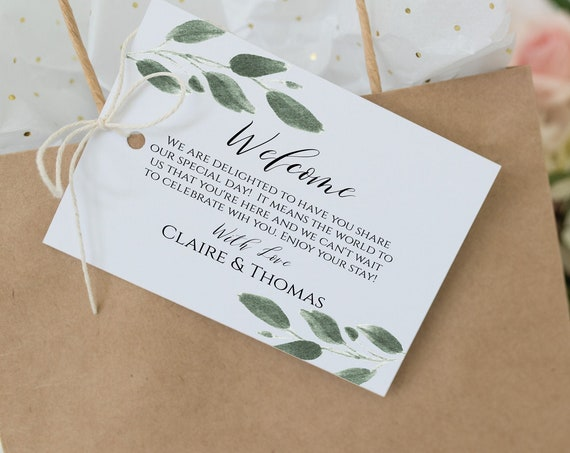 Greenery Wedding Welcome Bag Label, Out of Town Guest Tag, Printable Sticker, 100% Editable  Templett PPW0450