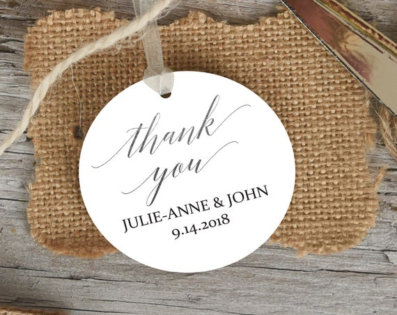 Silver Thank You Tag, Round Wedding Favor Tag, Favor Thank You Tags, Editable Printable,  Instant Download, 120S