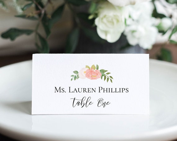 Wedding Place Card Template, Pink Floral Watercolor Design, Escort Card, 100% Editable, Templett PPB0230