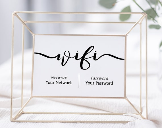 WIFI Password Printable, Wifi Password Sign, Internet Sign, Guest Room Sign, Instant Download 100% Editable, Templett PPW0575