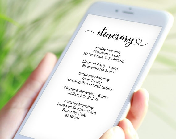 Heart Itinerary, Bachelorette, Wedding, Family Reunion, Electronic Schedule, Email Itinerary, Editable Text, Editable PPW12 CATHERINE