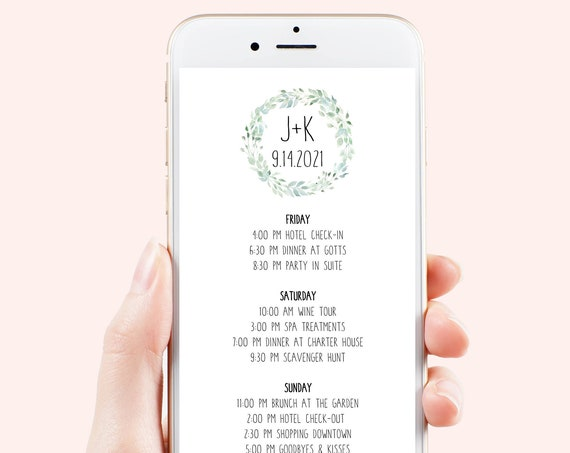 Itinerary, Wreath Wedding, Bachelorette, Out of Town Guest, Family Reunion, Electronic, Mobile Phone Format, 100% Editable PPW710
