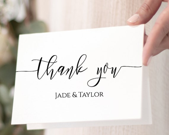 Thank You Card Template, Simplistic Elegant Font Design 100% Editable, Templett PPW0550