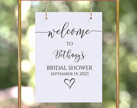 Bridal Shower Sign Template, Welcome Sign, Shower Printable, Large Easel Sign, Editable Wedding Printable, Corjl PPW0550 Grace
