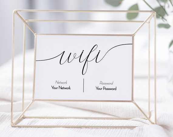 WIFI Password Printable, Wifi Password Sign, Internet Sign, Guest Room Sign, Instant Download 100% Editable, Templett PPW0560