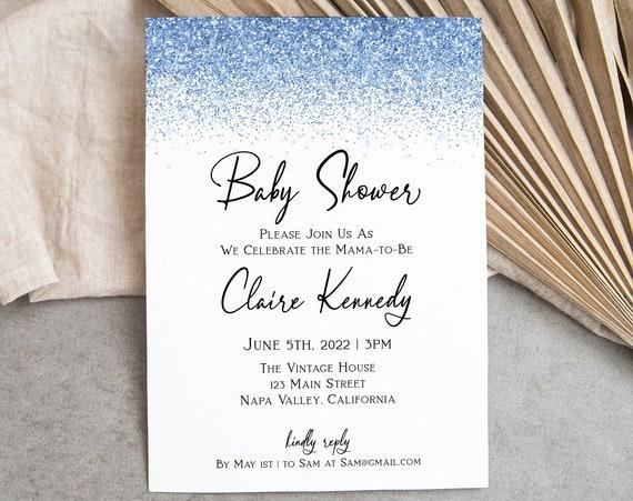 Glitter Baby Shower Invite, Shower Invitation, Blue, Glitter, Glam, Editable Template, Corjl PPW90 PPW92