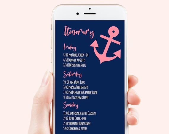 Pink Anchor Itinerary, Bachelorette, Wedding, Family Reunion, Electronic Schedule, Email Itinerary, Nautical Theme, Editable PPW29 ZALE