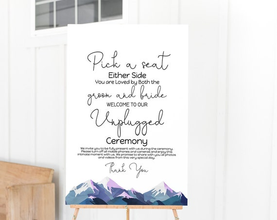 Wedding Unplugged Wedding Sign Template, Welcome Pick a Seat Sign, Winter Mountain Range, Printable Template, Corjl ANDES PPW420