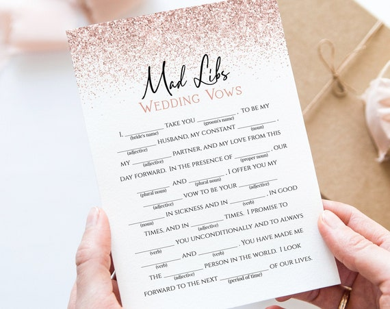 Rose Gold Glitter Wedding Vows Mad Libs Game Template, Bridal Shower, Bachelorette Party Bach Weekend Activity PPW90 PPW92