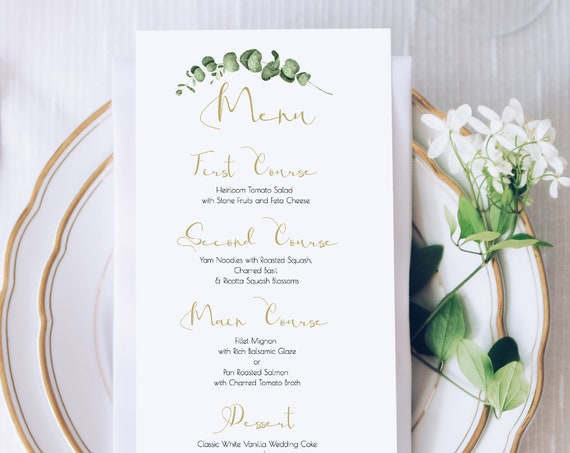 Greenery Wedding Reception Menu Template, Gold Geometric Table Decor, 100% Editable, Templett PPW0445