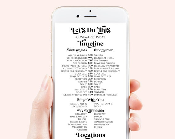 Wedding Party Itinerary, Wedding Day Timeline, Electronic Text Message, Email,  Modern Retro Design, 100% Editable Template, Corjl PPW74