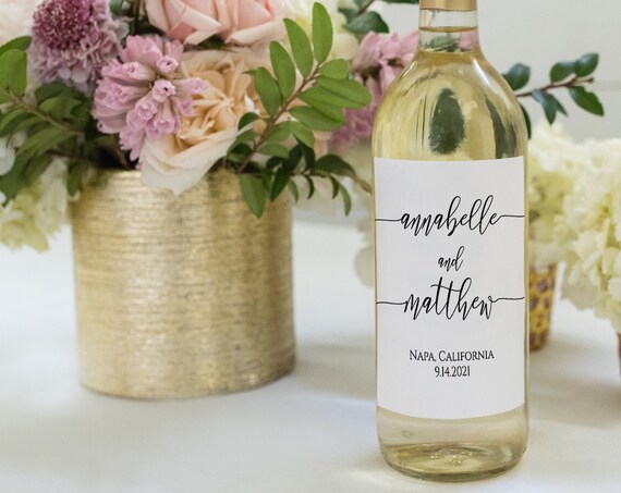 Modern Elegant Calligraphy Wine Bottle Label, Wedding Favor Tag, 100% Editable Templett PPW0550 Grace