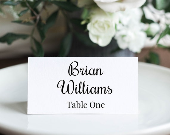 Place Card Template, Cursive Script Design, Wedding Seating Card 100% Editable, Templett PPW0570