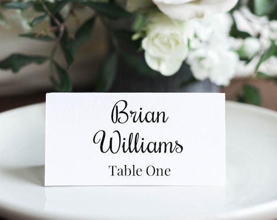 Place Card Template, Cursive Script Design, Wedding Seating Card 100% Editable, Templett PPW0570