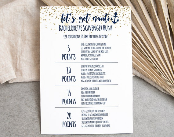 Bachelorette Party Point Scavenger Hunt Game Card Template, Bach Weekend Activity, Nautical, Let's Get Nauti, Bridal Activity MARIN PPW28
