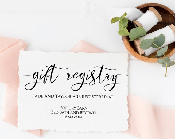 Gift Registry Enclosure Card, Wedding Invitation Card, Simplistic Elegant Font Template 100% Editable, Templett PPW0550