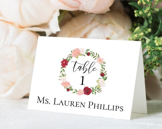 Wedding Place Card Template, Red & Pink Floral Watercolor Design, Escort Card, 100% Editable, Templett PPB0230