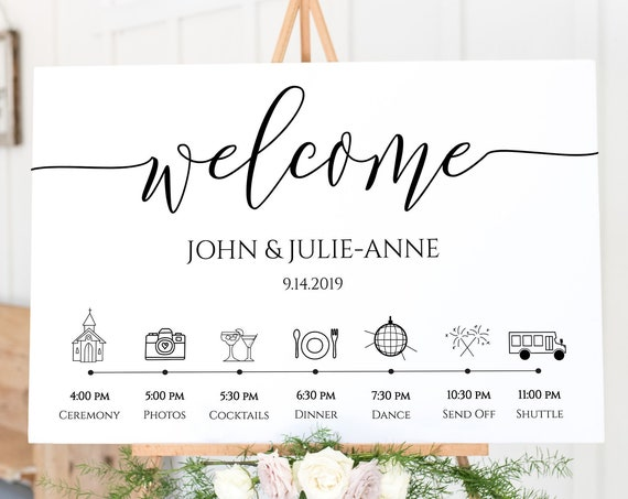 Wedding Welcome Timeline Sign  Minimalist, Printable Timeline, Wedding Day Schedule, Order of Service 100% Editable, Templett PPW0550