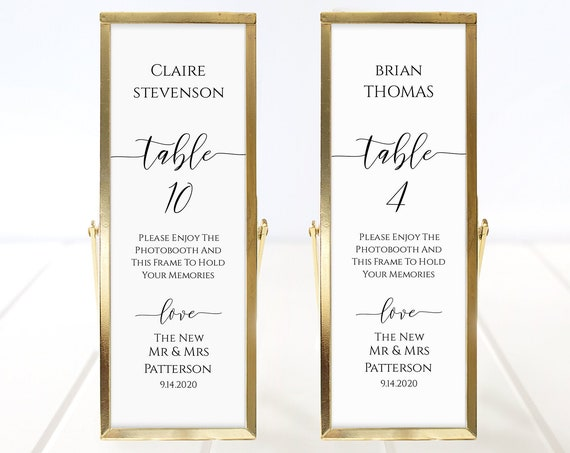 Photo Booth Place Card Frame Insert Template,  Minimalist Elegant Design, Wedding Favor 100% Editable, Templett PPW0550