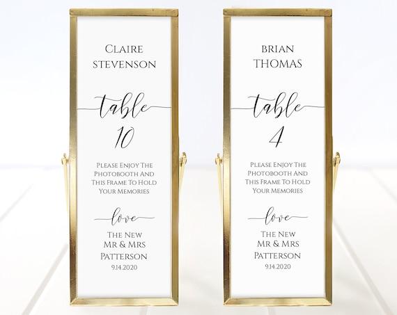 Photo Booth Place Card Frame Insert Template,  Minimalist Elegant Design, Wedding Favor 100% Editable PPW0550 Grace