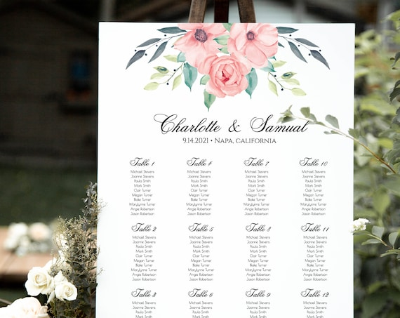 Wedding Seating Sign, Floral Welcome Seating Chart Template, 100% Editable Text, Instant Download, Templett, DIY PPW0220