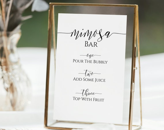 Mimosa Instruction Sign, Bar Menu Template, Bridal Shower Sign, Wedding Event Printable, Instant Download, Editable PPW0550 Grace