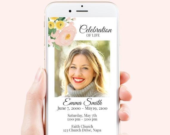 Memorial Evite, Celebration of Life, In Loving Memory Announcement, Funeral Electronic Invitation, Editable Corjl Template PPF232