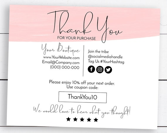 Pink Business Thank You Enclosure, Editable Thank You Card, Packaging Insert, Water Color Customer Note, 100% Editable  SM-TY PPB18P BELLA