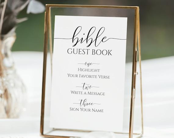 Bridal Shower Bible Guest Book Sign Template, Guest Book Sign, Shower Printable, Editable Wedding Printable, Corjl PPW0550 Grace
