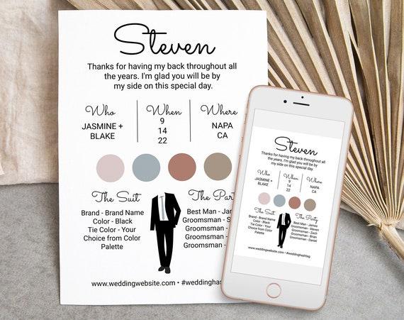 Groomsman Information Card, Printable Best Man Details, Modern Script Font Wedding Party Detail Cards Editable AVA PPW301